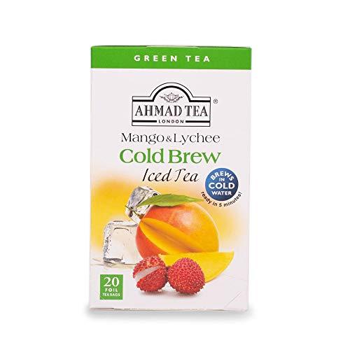 Ahmad Tea - Cold Brew Iced Tea - Mango & Lychee | grüner Tee mit Mango & Litschi - zum kalten Aufgießen | 20 Teebeutel à 2 g