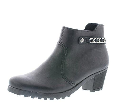 Rieker Damen Ankle Boots Y8090,Frauen Stiefel,Ankle Boot,Halbstiefel,Damenstiefelette,Bootie,knöchelhoch,Trichterabsatz 5.2cm,schwarz/schwarz, EU 39