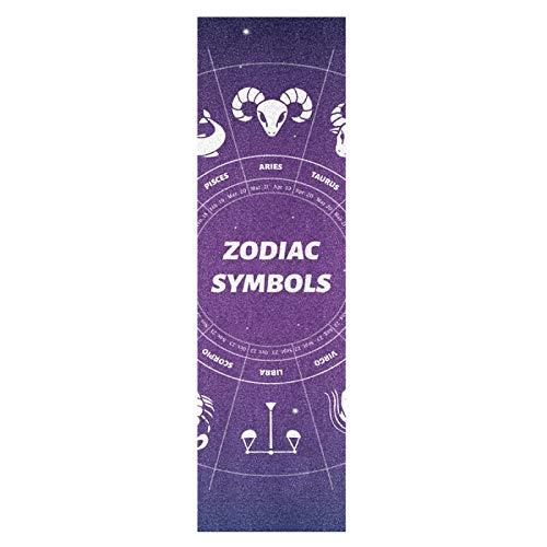 Lindo Arte Zodíaco Espacio Monopatín Papel de Lija Antideslizante Hoja Cinta de Agarre Lijas para Patineta Scooter Etiquetas engomadas (84 x 23 cm)