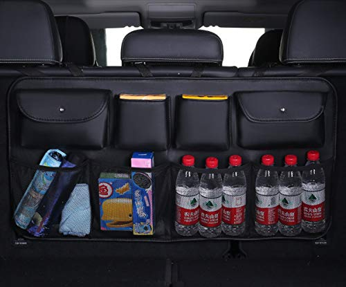 Car Trunk Organizer Hanging Backseat Storage Multipurpose Cargo Accessory Waterproof Dustproof Upgrade PU Leather Space Saving Facilitator for SUV and Many Vehicles