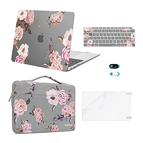 MOSISO MacBook Air 13 inch Case 2020 2019 2018 A2337 M1 A2179 A1932, Plastic Peony Hard Shell&Sleeve Bag&Keyboard Cover&Webcam Cover&Screen Protector Compatible with MacBook Air 13 inch Retina, Grey