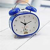 CZHJG Moda Personalidad Color Niños Perezoso Despertador Estéreo Digital Oval Cama Alarma Azul