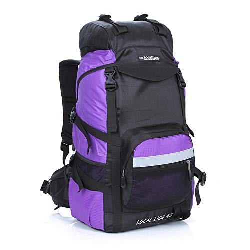 KNJF Waterproof Cycling Backpack Padded Back Support & Cushioned Adjustable Straps Military Waterproof Hiking Camping Backpacks for Men Women 45L (Color : Purple, Size : 50 * 34 * 24cm)