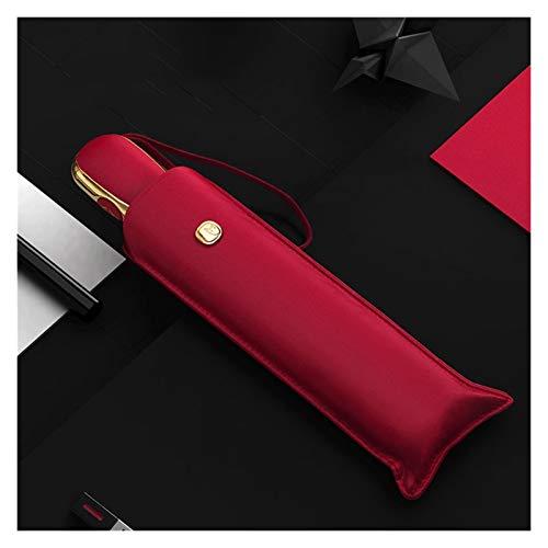 love lamp Gancho De Tornillo 3 Plegable Automático Revestimiento Negro Protector Solar UV Soleado y lluvioso Ultra Light Portable Paraguas Mujer Gancho (Color : Red)