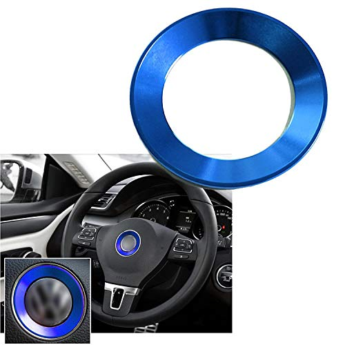 Xotic Tech 1 Set Steering Wheel Center Logo Ring Emblem Blue Trim for Volkswagen Golf Lavida Bora 2014 2015 2016