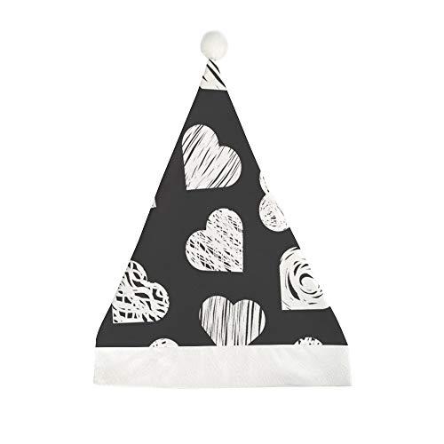 Mesllings Patrón sin costuras con elegantes corazones blancos sobre fondo negro impreso para Navidad, sombrero de fiesta, gorro de Papá Noel, regalo para adultos, unisex – 58 x 40 cm