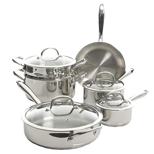 Kenmore Devon Heavy Gauge Stainless Steel Tri-Ply Impact Bonded Induction Cookware Set, 10-Piece