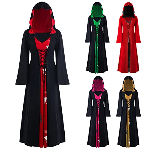 Cloak High Low Sweater Dresses for Womens Plus Size Christmas Elk Hooded Lace Up Patchwork Long Sleeve Long Coat Dress (B02 Black, XXL)