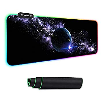Large RGB Gaming Mouse Pad - Reawul 14 Modes Oversized Glowing Led Extended Mousepad Anti-Slip Rubber Base and Waterproof Surface Extra Large Soft Led Computer Keyboard Mouse Mat - 31.5 x 11.8in