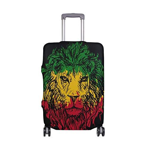 ALINLO - Funda Protectora para Maleta de Equipaje con diseño de Tigre Hipster, Color Verde, Amarillo y Rojo, para Maletas de Viaje de 18 a 32 Pulgadas, ljoljnz36789cb