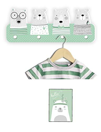 Kindsblick ® Bären Kindergarderobe in Mintgrün inkl. DIN A4 Poster - Garderobe mit 4 Kleiderhaken für Kinder - Wunderschöne Deko für jedes Kinderzimmer - Maße (38 x 15 x 1 cm)