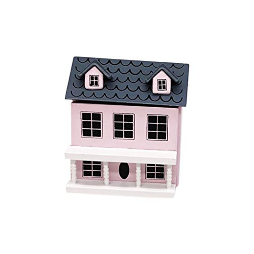 Ouniman Lovely 1:12 Mini Dollhouse Villa Accessories Mini House with Movable Grey Roof Miniature Fairy Garden Decoration Structures Buildings Toy for Kids Children Adults Pretend Play (Pink(1pcs))