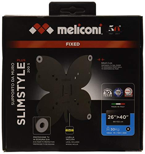 Meliconi Slimstyle Plus 200 S, Supporto Fisso Ultra Sottile Da Parete Per Tv A Schermo Piatto Da 26'' A 40'', Con Gommini Protettivi, Vesa 100X100, 200X200, 1, Nero