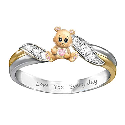 FiedFikt Creative Fashion Bear Heart Ring Jewelry Charms Rings Ladies Ring Jewelry Finger Ring Girls Rings Jewellery Decoration Jewels Gift (9)
