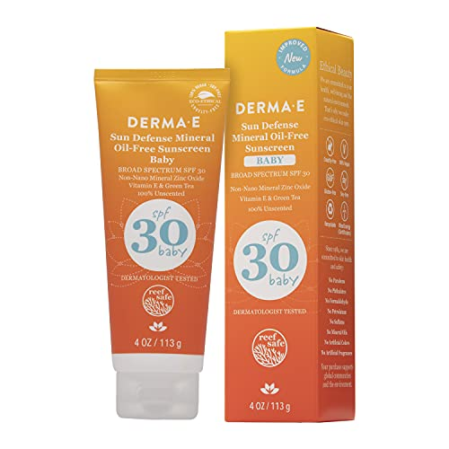 DERMA E Natural Mineral Sunscreen SPF 30 Baby (4oz) [Packaging May Vary]