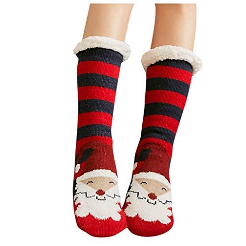 Snakell Calcetines de Navidad, Invierno Mujer Calcetines Térmicos de Piso Antideslizantes, Tejer Calcetines de Casa para Mujeres Chicas Regalo de Navidad Interior, Talla Unica