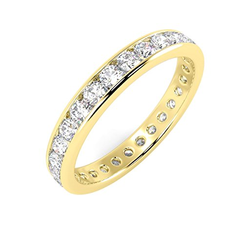 1.00 Ct Round Diamonds Channel Set Full Eternity Ring in 18k Yellow Gold (M)