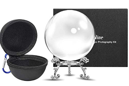 MerryNine Crystal Ball with Ball Case Bag Set, K9 Crystal Photography Ball, Including Microfiber Pouch and Crystal Ball Manual, Perfect Photography Accessories (60mm/2.36')