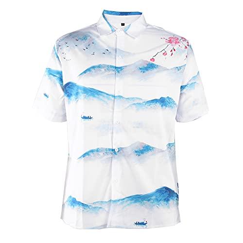 Hztyyier Camisas Hawaianas Florales para Hombre Camisas de Playa Estampadas con Botones Camisas Sueltas de Verano con Estilo Informal Camisa de Manga Corta(XL-CE011017)