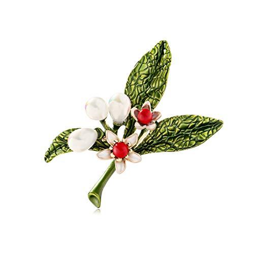 Yazilind Frauen Blume grünes Blatt Broschen niedlich Mini Pflanze Anstecknadeln Abzeichen Schmuck Geschenke für Schal, Krawatte, Hut, Mantel oder Tasche