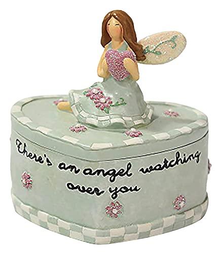 LIXSLT Caja de almacenamiento de joyas con forma de corazón con tapa, para mujeres y niñas, para lunes de hija, exquisita caja de almacenamiento de resina con alas de ángel (color verde)