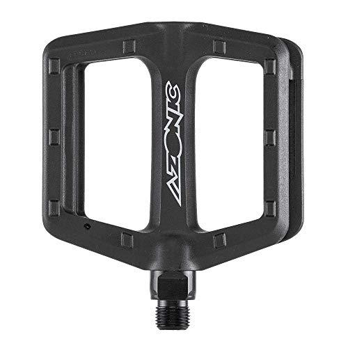 AZONIC Shoo-in MTB Pedali Neri | Pedali per Bici Leggeri e Resistenti ai Graffi | Pedale Piatto in Nylon Rinforzato con Fibra di Vetro | Adatto per Mountain Bike, e-Bike, BMX Bike e Molti Altri