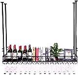 SACKDERTY Suporte para vinho montado no teto/na Parede Suporte para prateleira de vinho Suporte para Copos de vinho Tinto Suporte para vidro de vinho Bar Expositor Cozinha Restaurante Nordic Vintage
