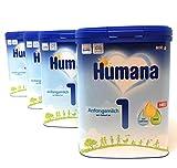 Humana Anfangsmilch 1, von Geburt an, (4x800 g) Pulver