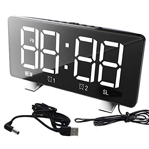 hbz11hl Alarm Clock LED Digital Display USB12/24 Hours Dual Modes Snooze Alarm Clock with FM Radio for Bedrooms Blue