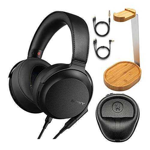 Sony MDR-Z7M2 Hi-Res Stereo Overhead Headphones with Knox Gear Hard Shell Headphone Case and Bamboo Headphone Stand Bundle (3 Items)