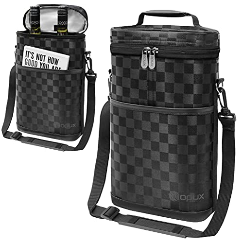 (2 Bottle, Checkered Black) - Premium Insulated 2 Bottle Wine Carrier Tote Bag Wine Travel Bag with Shoulder Strap, Padded Protection, and Corkscrew Opener Wine Cooler Bag
