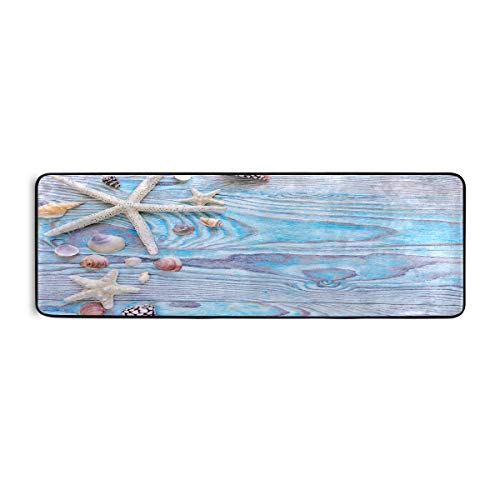 BEETTY Runner Rug Wood Starfish Seashell Non Slip Area Long Rug Hallway Entry Living Room Modern Carpet (2'x6')
