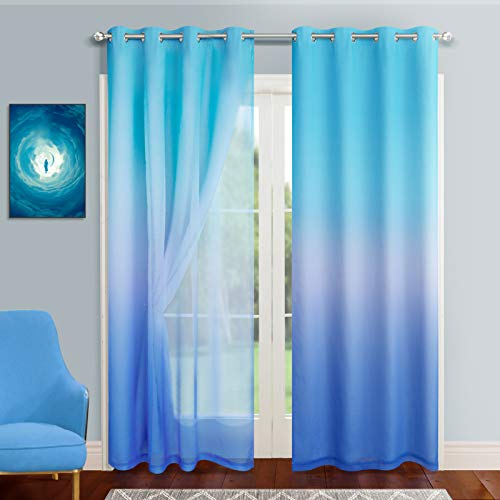 Darkening Blackout Curtains with Sheer Azure and Royal Blue Rainbow Ombre Double Layer Curtains 84 Inch Long for Bedroom 2 Panels Grommet Thermal Insulated Room Modern Drapes for Kids Room Decor 52x84