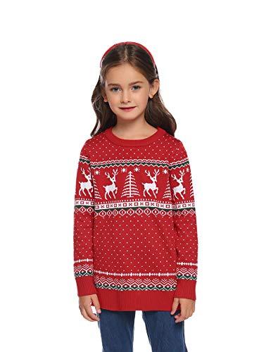 Aibrou Pulls de Noël Ugly Christmas Sweater Pulls Noël Tricoté Doux S-XXL Rouge-Enfant 1-2 Ans