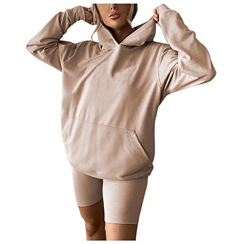CrazyYoung Conjunto de 2 piezas de sudadera sólida con capucha de manga larga y pantalones cortos de deporte para mujer