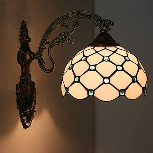 Aplique de pared, luces de pared de pasillo de estilo Tiffany, lámpara de pared antigua retro para dormitorio, pantalla de cristal beige, cuentas de cristal, base de metal, pared Scocne, balcón, porc