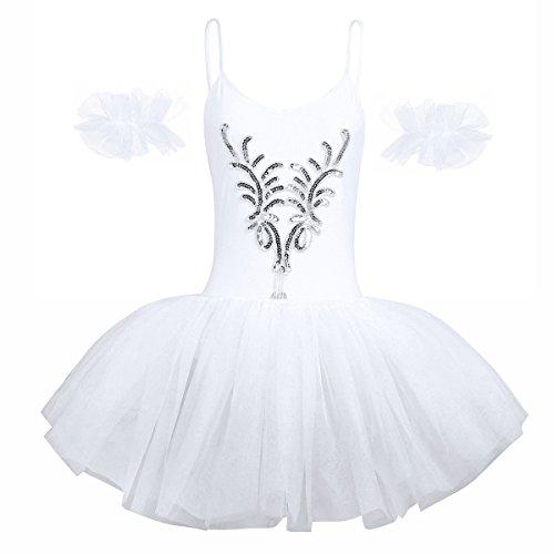 iEFiEL Damen Ballettkleid Ballettanzug Ballett Trikot Tanzkleid Weiß Tanz-Kostüm mit Tüll Rock Gr. XS S M L XL Weiß Small