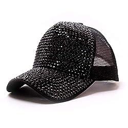 Black Rhinestone Mesh Breathable Adjustable Sun Hat