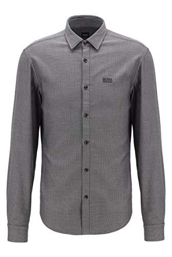 BOSS Herren Brod S Mehrfarbiges Slim-Fit Hemd aus strukturierter Baumwolle