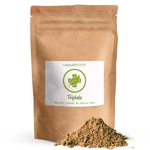 Bio Triphala Pulver - 100 g - zertifiziert - aus Amalaki, Haritaki, Bibhitaki - Superfood - in Rohkostqualität - 100% vegan + rein - OHNE Hilfs- u. Zusatzstoffe