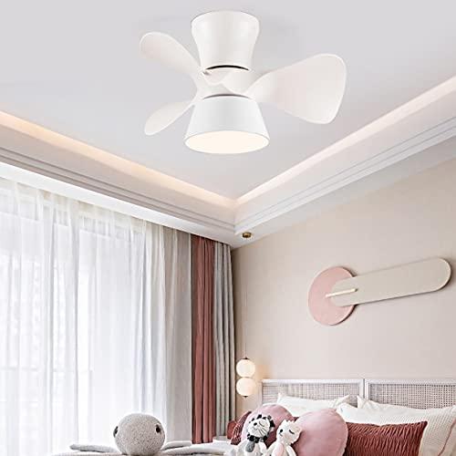 Reversible Lamparas Ventilador De Techo Infantil Dormitorio LED Regulable Ventilador Techo Con Luz Y Mando Pequeño Silencioso Moderno Sala Ventilador Techo Con Luz Y Temporizador,Blanco