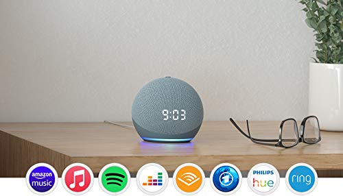 Der neue Echo Dot (4. Generation) | Smarter Lautsprecher mit Uhr und Alexa | Blaugrau