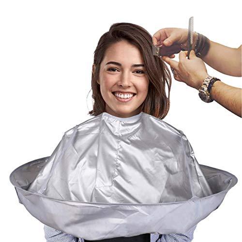 Ealicere Cape de Coiffure Professionnelle Cape de Coupe de Cheveux Parapluie Pliable,Cape coiffeur Cape de Velcro Flexible et étanche pour coiffeur de salon accessoire de coiffure,Argent