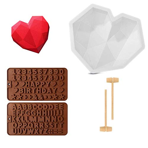 GOCTOS Diamond Heart Shape Silicone Cake Mold Chocolate Mousse Dessert Baking Pan Silicone Fondant Mold, Wooden Hammers MalletPounding Toy and Chocolate Molds for Valentine Candy Chocolate Making