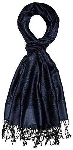 Lorenzo Cana Luxus Herren Schal 70% Seide 30% Viskose Damast Paisley Muster Schaltuch 70 cm x 190 cm zweifarbig Schal Herrenschal Herrentuch Navy 786221177