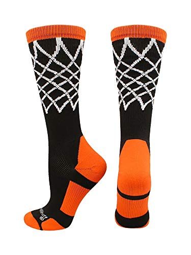 MadSportsStuff Elite calcetines de baloncesto con red de longitud media (varios colores), Large, Negro/Anaranjado