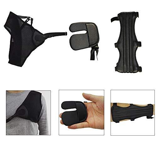 AMEYXGS Bogenschießen Schutzausrüstung Beinhaltet Brustschutz Armschutz Fingertabs für Archer