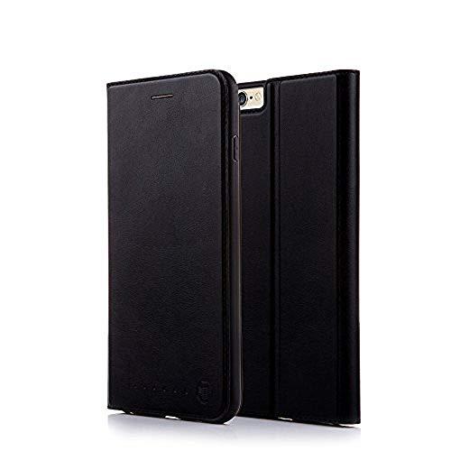 Nouske iPhone 6 6S 4.7 Zoll Stand Hülle Etui with Karte Halterung Leder Wallet Klapphülle Flip Book Case TPU Cover Bumper Tasche Ultra Slim, Onyx Schwarz