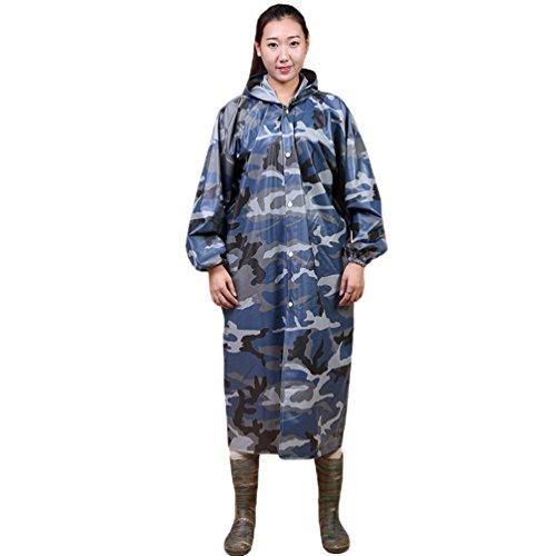 YuanDian Uomo Donna All'aperto Camuffare PVC Impermeabile Poncho Pioggia con Cappuccio Pulsante Rainwear Giacca per Andare in Bicicletta Campeggio Pesca Caccia Agricoltura
