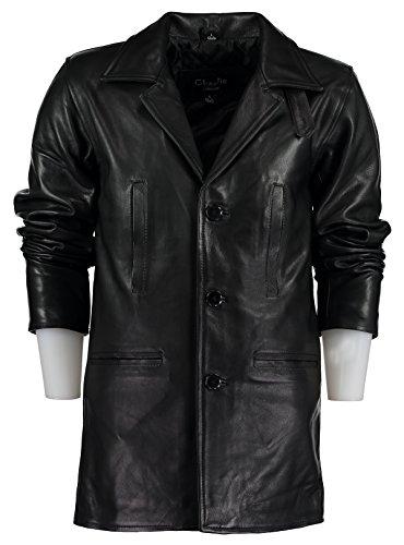 Charlie LONDON Men's Max Payne Leather Jacket Coat - Leather Jackets Mens (XXXX-Large)